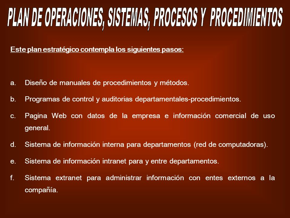 PLAN DE OPERACIONES, SISTEMAS, PROCESOS Y PROCEDIMIENTOS
