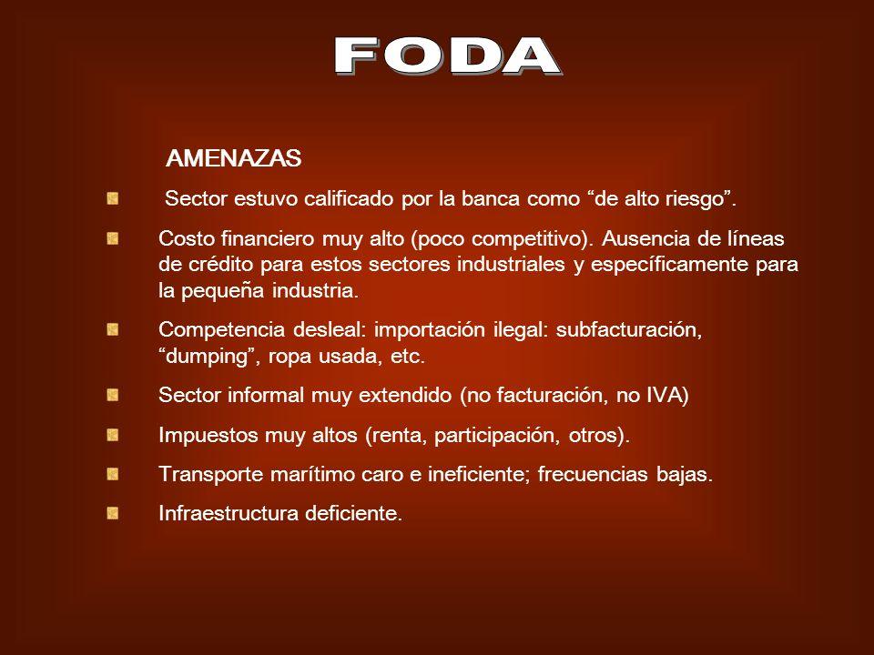 FODA AMENAZAS. Sector estuvo calificado por la banca como de alto riesgo .