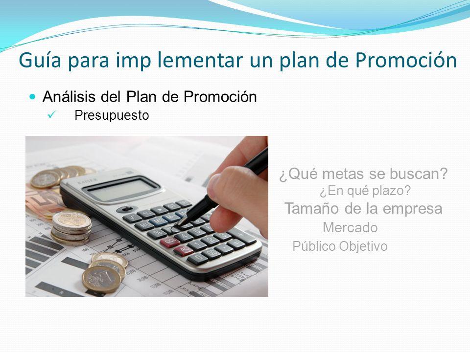 Guía para imp lementar un plan de Promoción