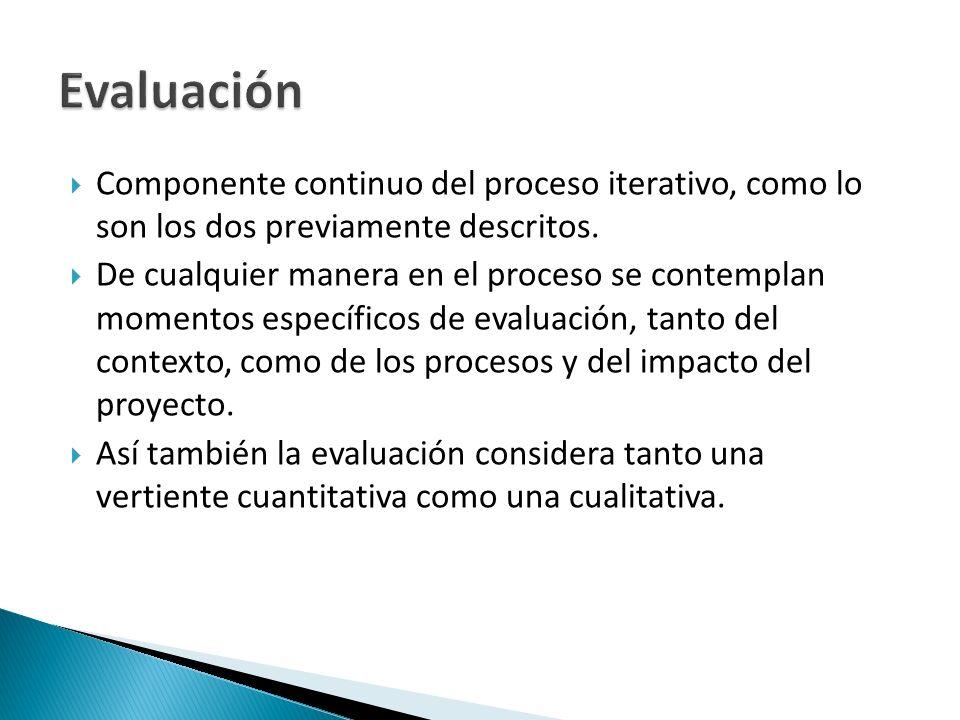 Evaluación Componente continuo del proceso iterativo, como lo son los dos previamente descritos.