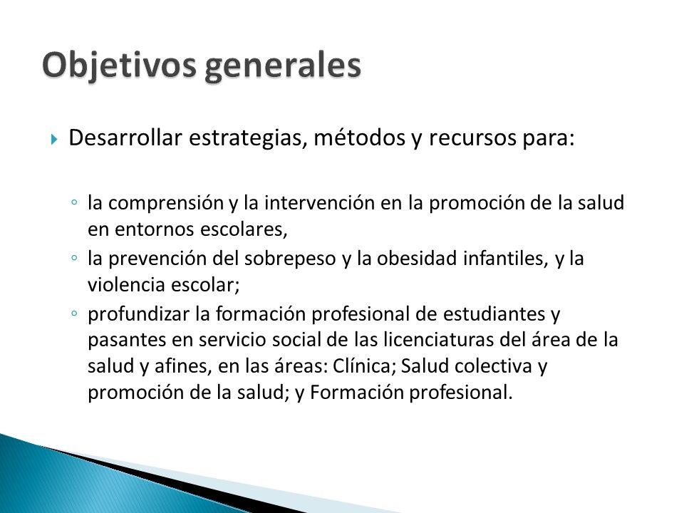 Objetivos generales Desarrollar estrategias, métodos y recursos para: