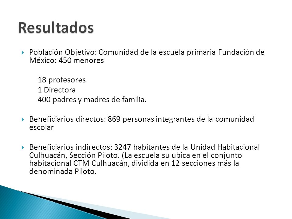Resultados Población Objetivo: Comunidad de la escuela primaria Fundación de México: 450 menores. 18 profesores.