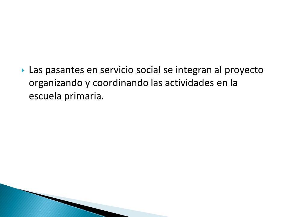 Las pasantes en servicio social se integran al proyecto organizando y coordinando las actividades en la escuela primaria.