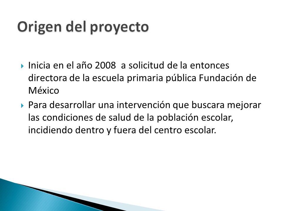 Origen del proyecto Inicia en el año 2008 a solicitud de la entonces directora de la escuela primaria pública Fundación de México.