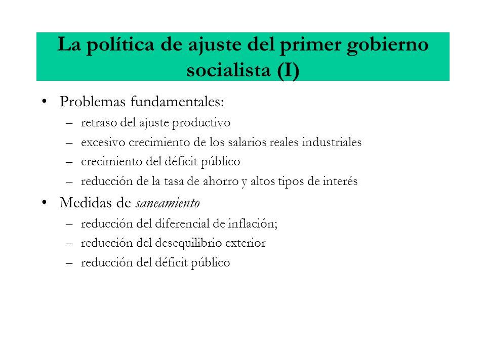 La política de ajuste del primer gobierno socialista (I)
