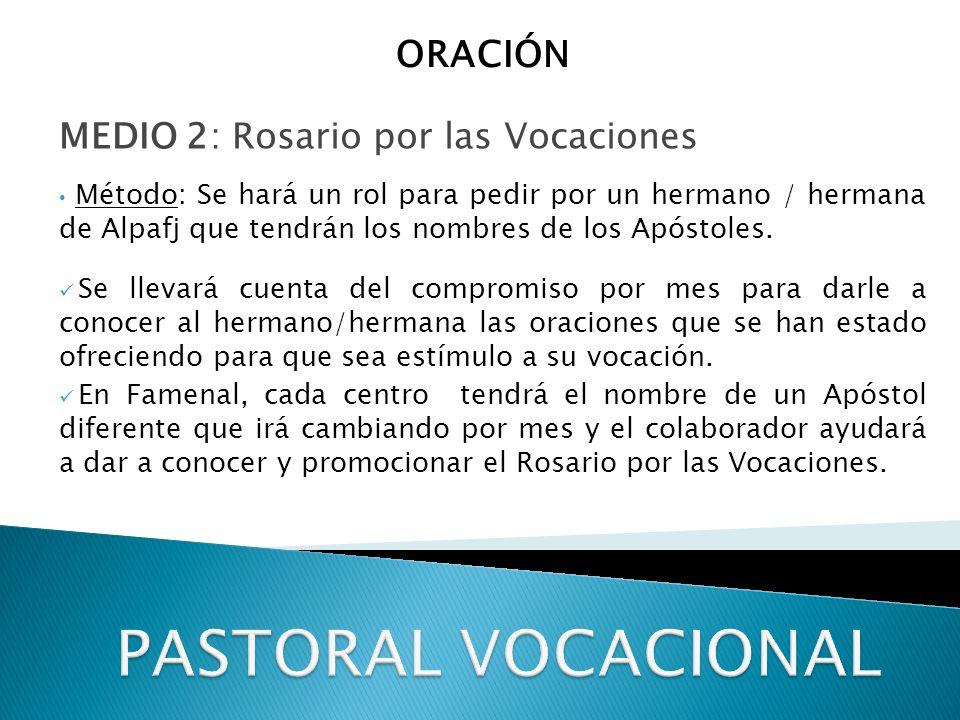 PASTORAL VOCACIONAL ORACIÓN MEDIO 2: Rosario por las Vocaciones