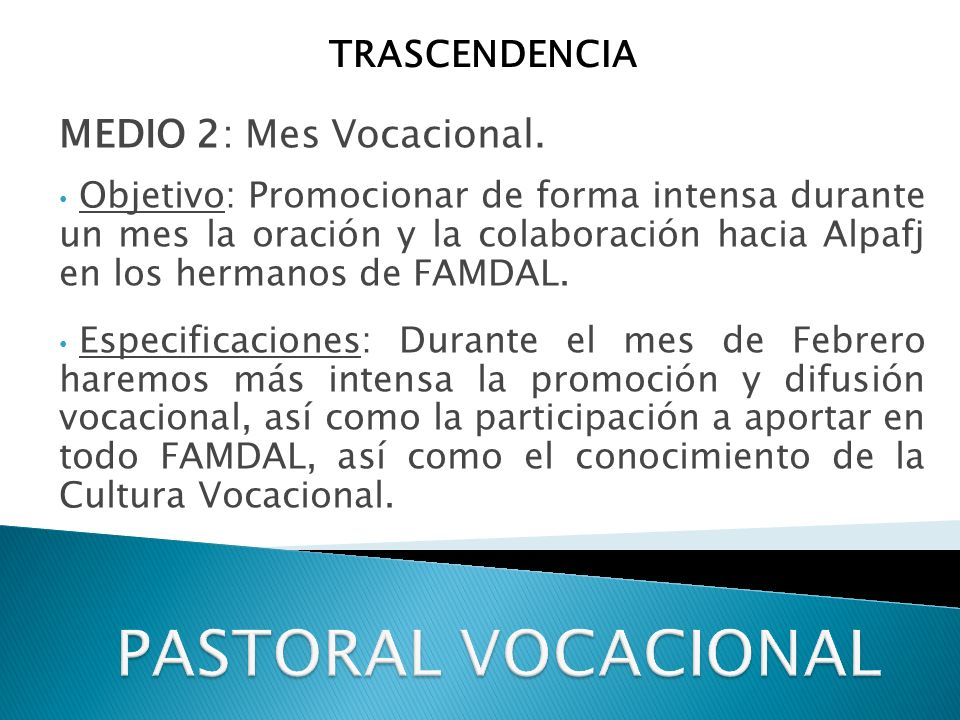 PASTORAL VOCACIONAL MEDIO 2: Mes Vocacional. TRASCENDENCIA