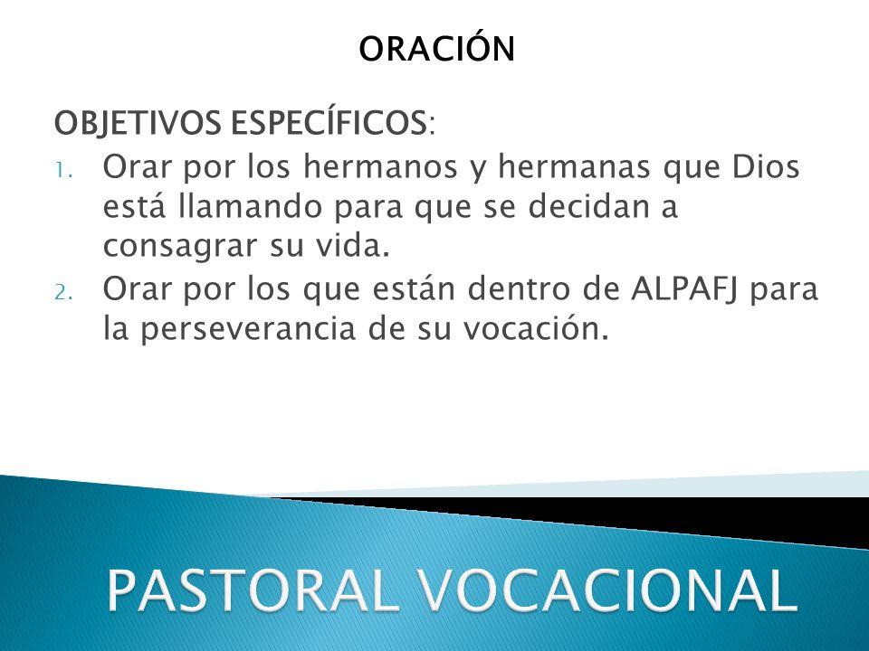 PASTORAL VOCACIONAL ORACIÓN OBJETIVOS ESPECÍFICOS:
