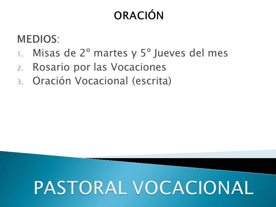 PASTORAL VOCACIONAL ORACIÓN MEDIOS: