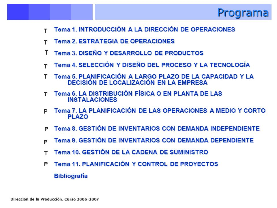 Programa T Tema 1. INTRODUCCIÓN A LA DIRECCIÓN DE OPERACIONES
