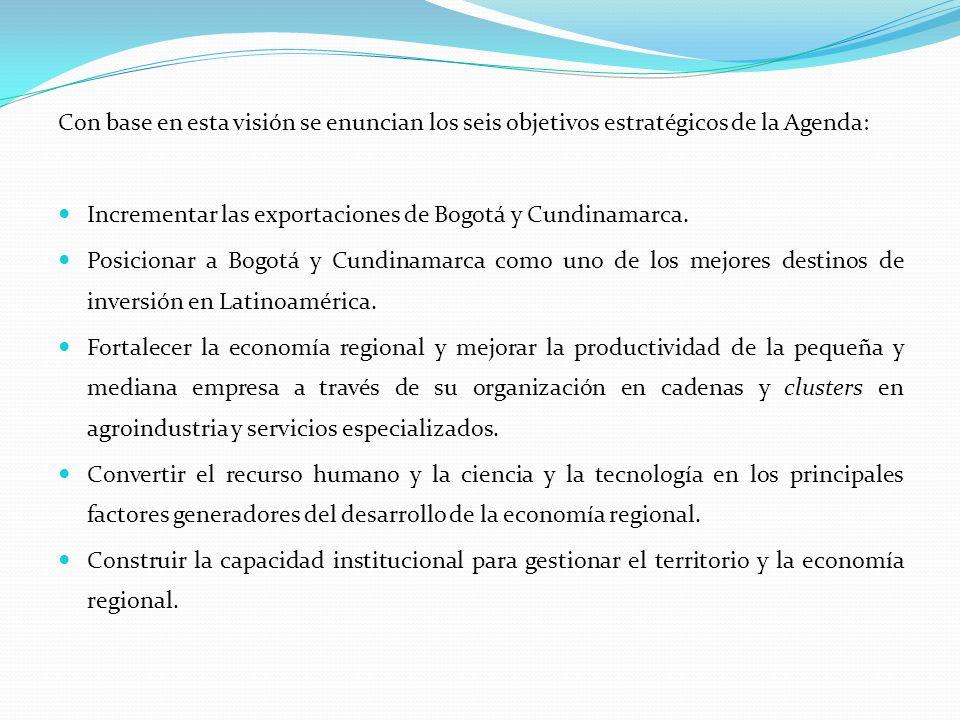 Con base en esta visión se enuncian los seis objetivos estratégicos de la Agenda: