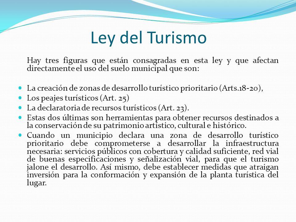 Ley del Turismo Hay tres figuras que están consagradas en esta ley y que afectan directamente el uso del suelo municipal que son: