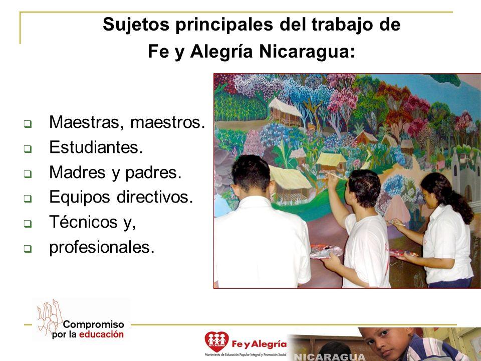 Sujetos principales del trabajo de Fe y Alegría Nicaragua: