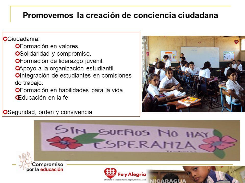 Promovemos la creación de conciencia ciudadana