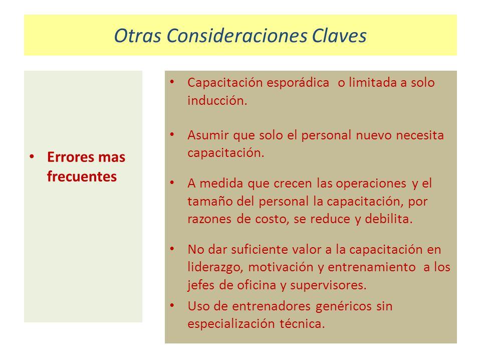 Otras Consideraciones Claves