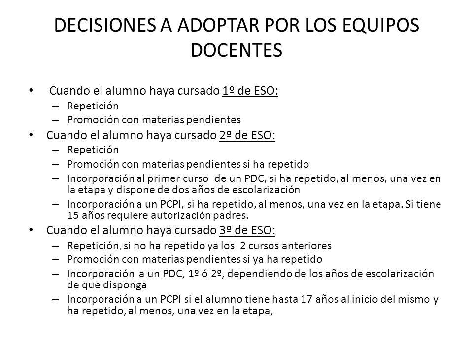 DECISIONES A ADOPTAR POR LOS EQUIPOS DOCENTES