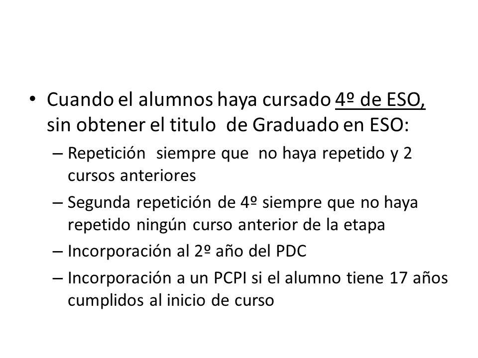Cuando el alumnos haya cursado 4º de ESO, sin obtener el titulo de Graduado en ESO:
