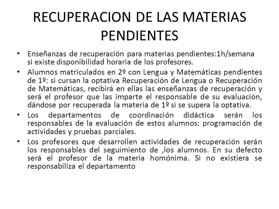RECUPERACION DE LAS MATERIAS PENDIENTES