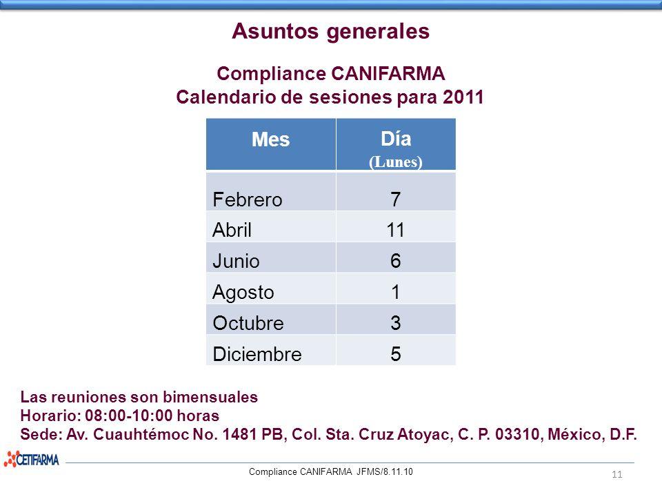 Calendario de sesiones para 2011
