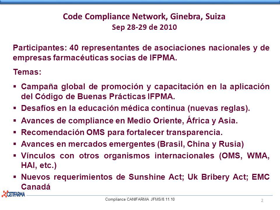 Code Compliance Network, Ginebra, Suiza Sep 28-29 de 2010