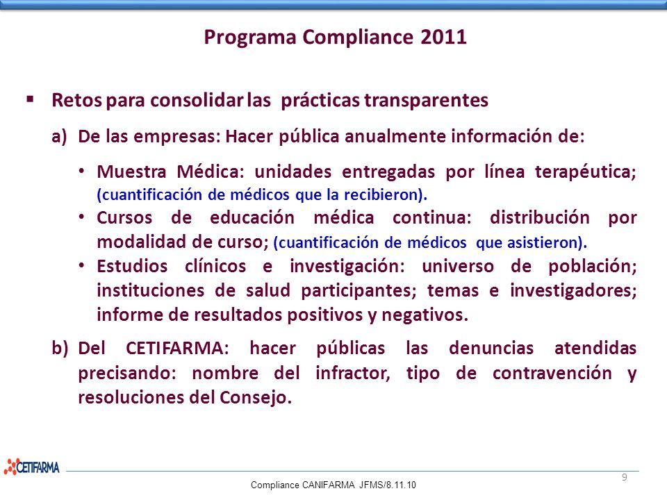 Programa Compliance 2011 Retos para consolidar las prácticas transparentes. De las empresas: Hacer pública anualmente información de:
