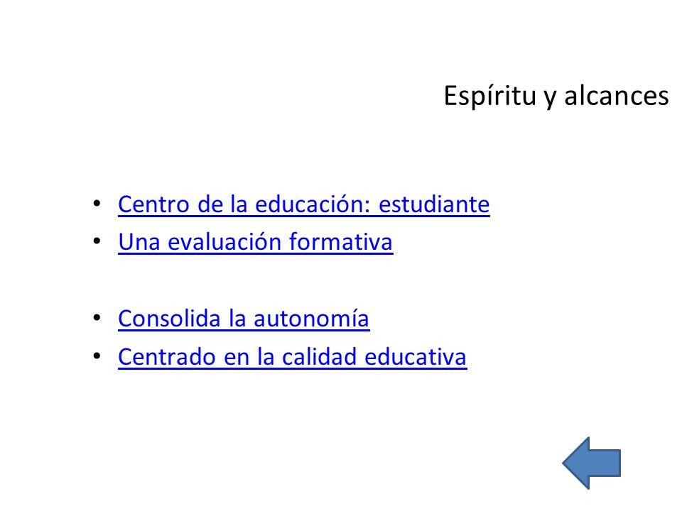 Espíritu y alcances Centro de la educación: estudiante