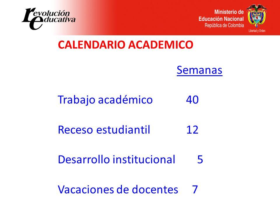 CALENDARIO ACADEMICO Semanas. Trabajo académico 40. Receso estudiantil 12.