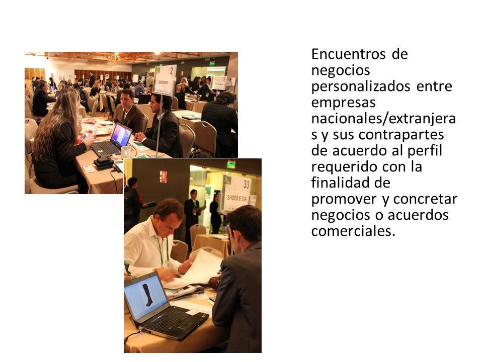 Encuentros de negocios personalizados entre empresas nacionales/extranjeras y sus contrapartes de acuerdo al perfil requerido con la finalidad de promover y concretar negocios o acuerdos comerciales.