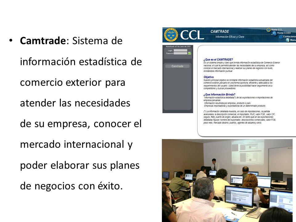 Camtrade: Sistema de información estadística de comercio exterior para atender las necesidades de su empresa, conocer el mercado internacional y poder elaborar sus planes de negocios con éxito.