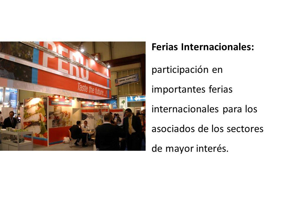 Ferias Internacionales: participación en importantes ferias internacionales para los asociados de los sectores de mayor interés.
