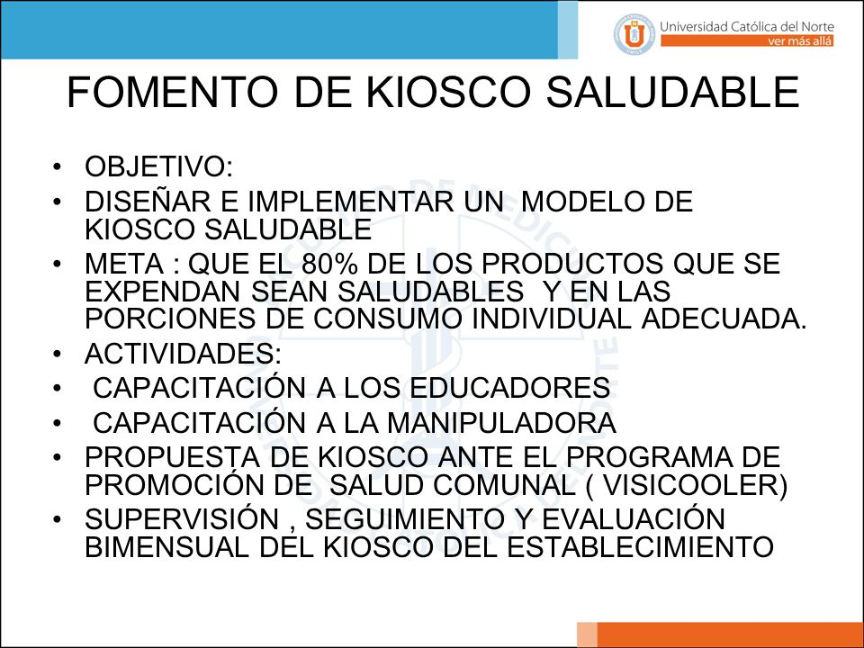 FOMENTO DE KIOSCO SALUDABLE