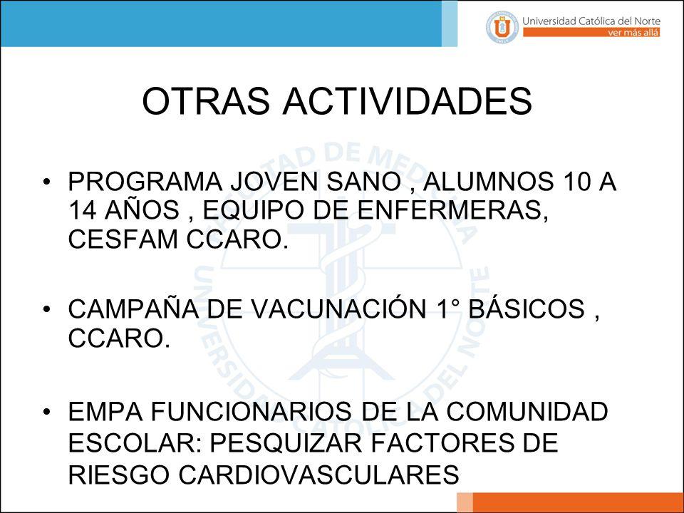 OTRAS ACTIVIDADES PROGRAMA JOVEN SANO , ALUMNOS 10 A 14 AÑOS , EQUIPO DE ENFERMERAS, CESFAM CCARO. CAMPAÑA DE VACUNACIÓN 1° BÁSICOS , CCARO.