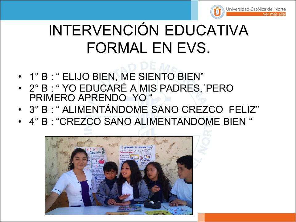 INTERVENCIÓN EDUCATIVA FORMAL EN EVS.