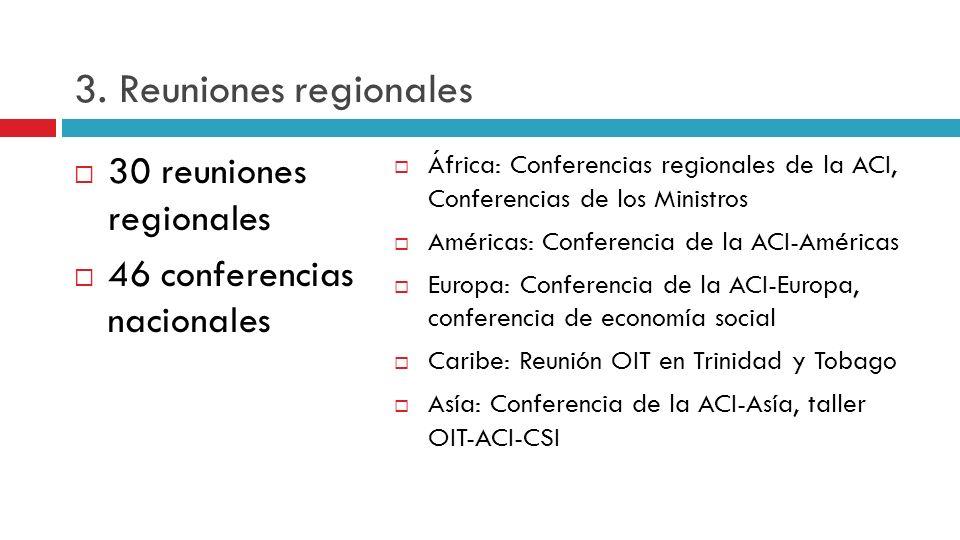 3. Reuniones regionales 30 reuniones regionales