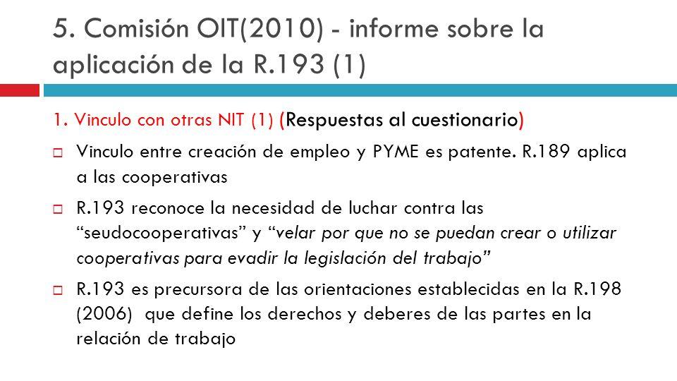 5. Comisión OIT(2010) - informe sobre la aplicación de la R.193 (1)