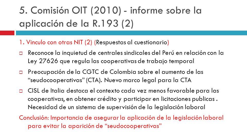5. Comisión OIT (2010) - informe sobre la aplicación de la R.193 (2)