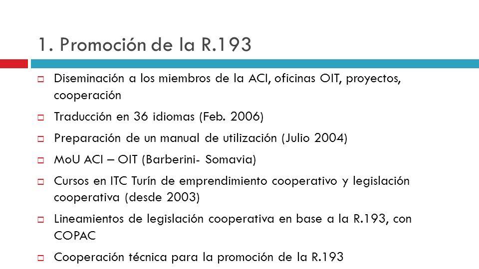 1. Promoción de la R.193 Diseminación a los miembros de la ACI, oficinas OIT, proyectos, cooperación.