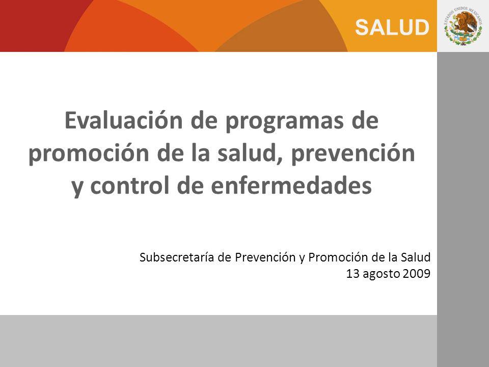Subsecretaría de Prevención y Promoción de la Salud 13 agosto 2009