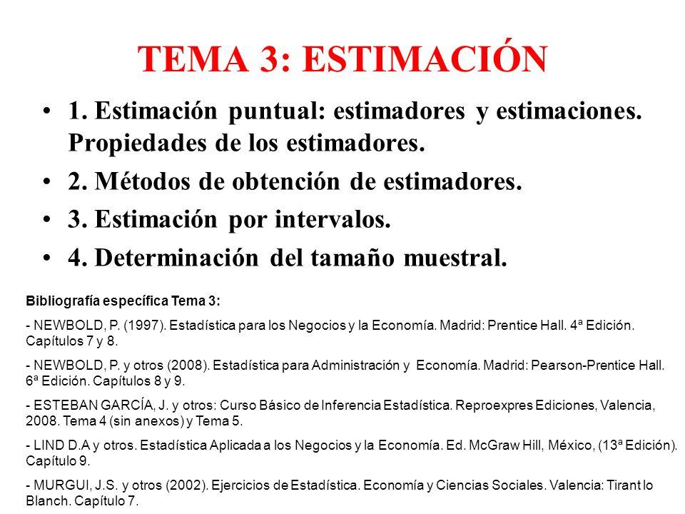 TEMA 3: ESTIMACIÓN 1. Estimación puntual: estimadores y estimaciones. Propiedades de los estimadores.