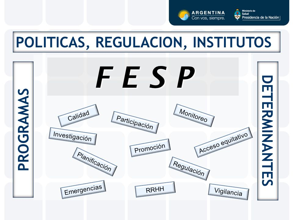 F E S P POLITICAS, REGULACION, INSTITUTOS DETERMINANTES PROGRAMAS