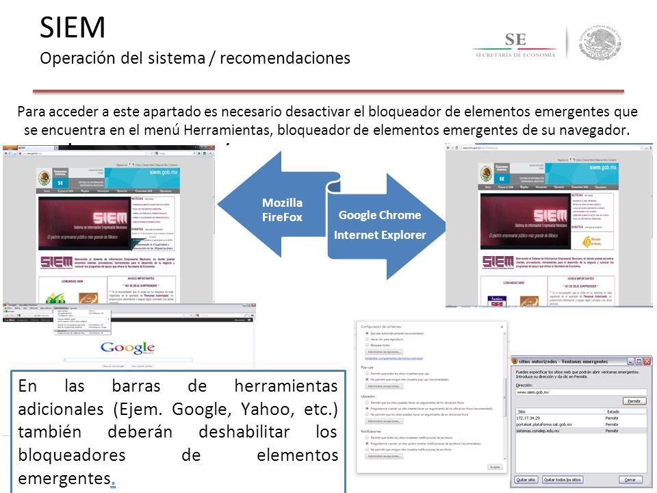 SIEM Operación del sistema / recomendaciones