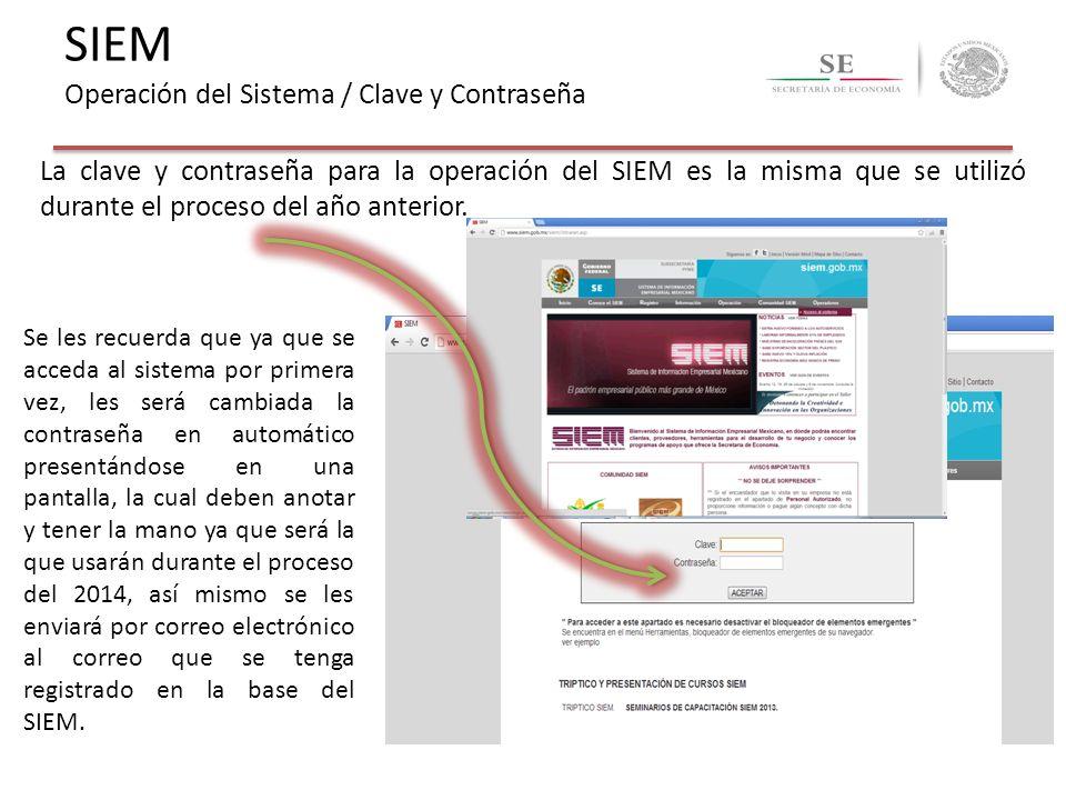 SIEM Operación del Sistema / Clave y Contraseña