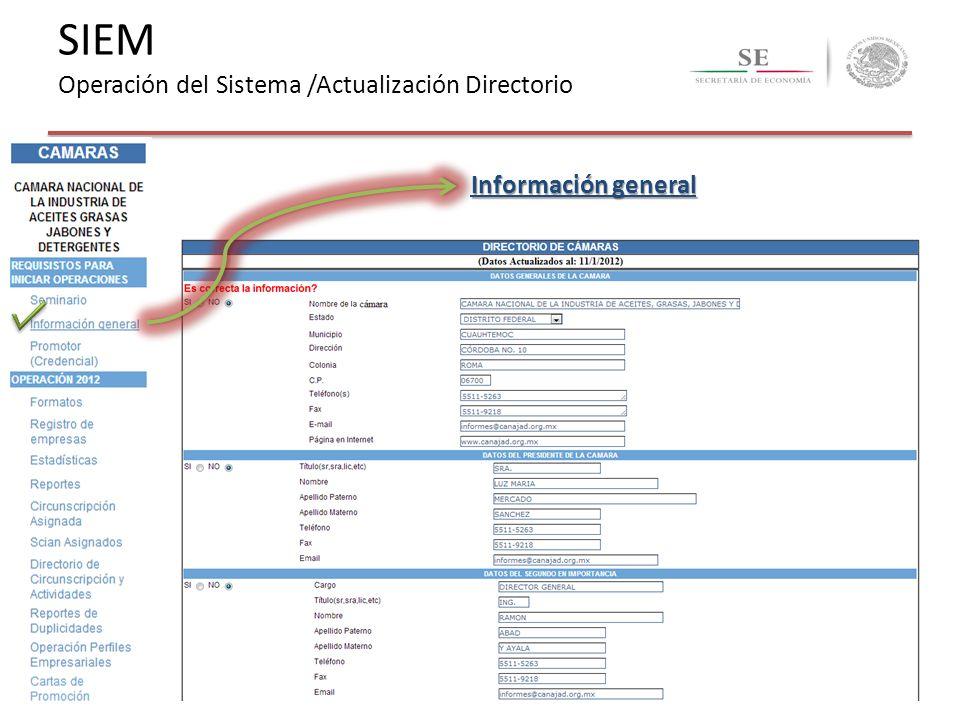 SIEM Operación del Sistema /Actualización Directorio