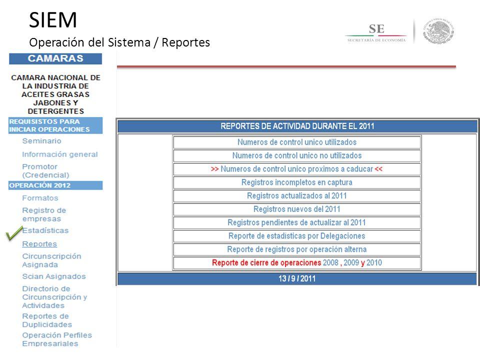 SIEM Operación del Sistema / Reportes