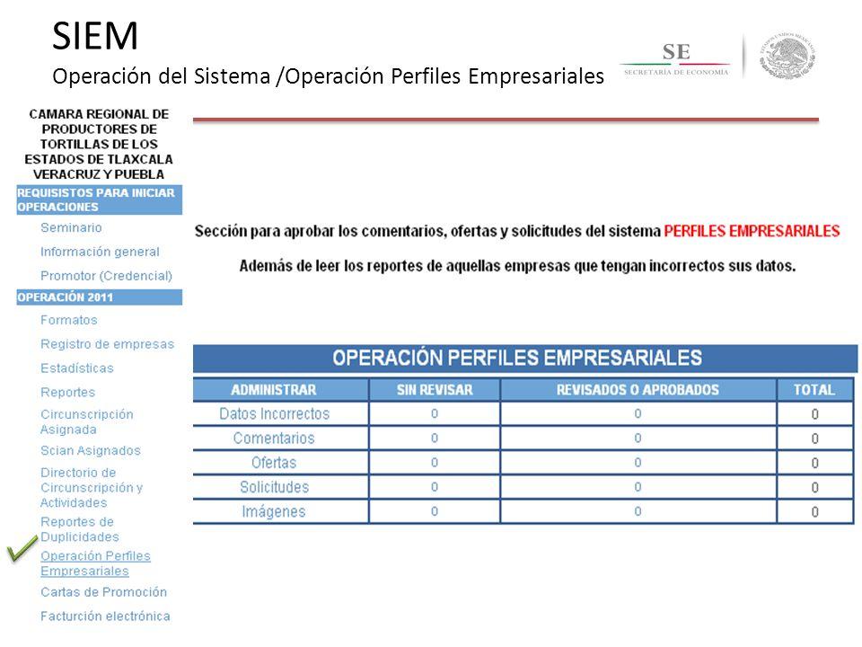 SIEM Operación del Sistema /Operación Perfiles Empresariales