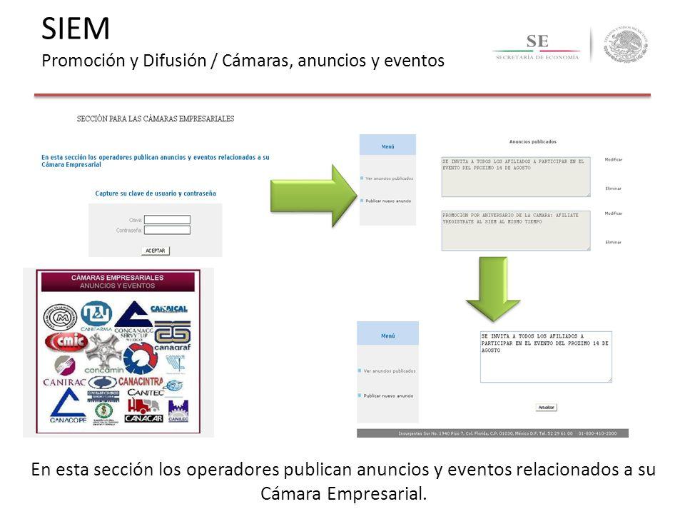 SIEM Promoción y Difusión / Cámaras, anuncios y eventos
