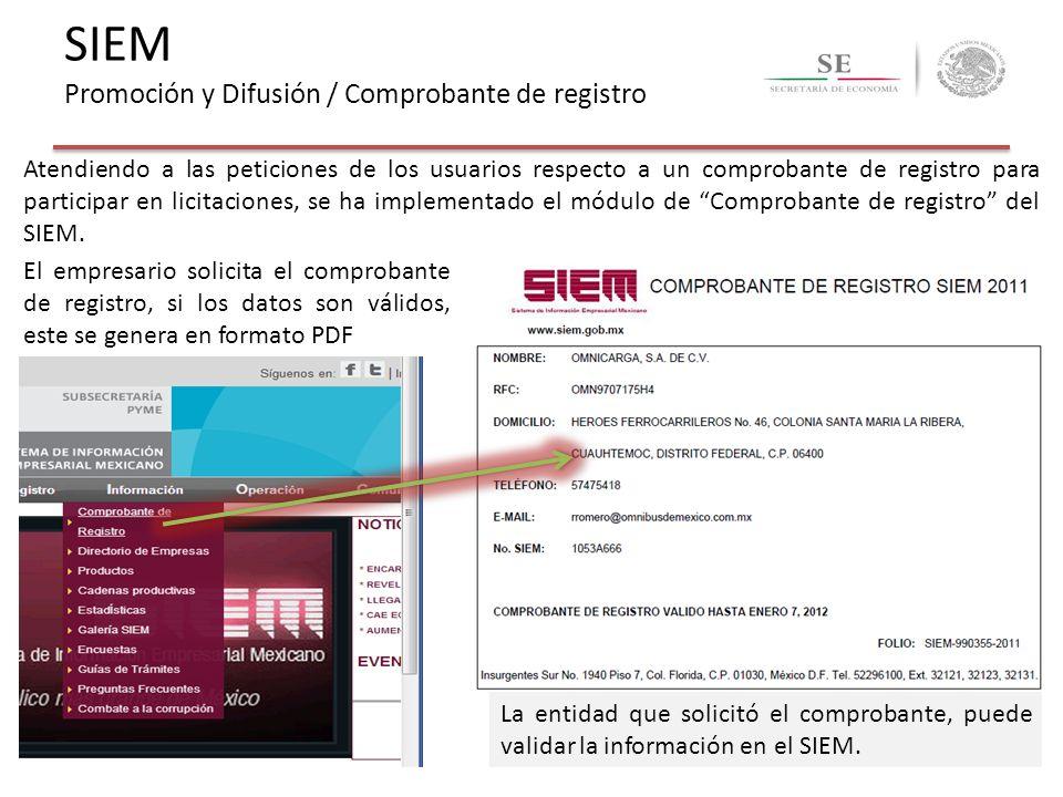 SIEM Promoción y Difusión / Comprobante de registro