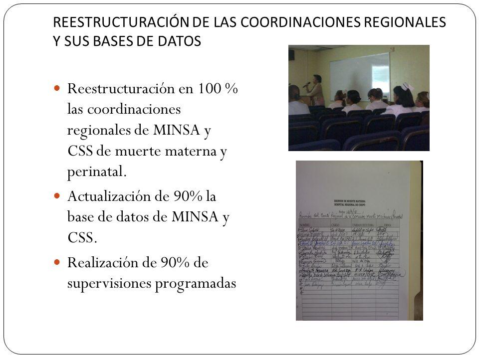 REESTRUCTURACIÓN DE LAS COORDINACIONES REGIONALES Y SUS BASES DE DATOS