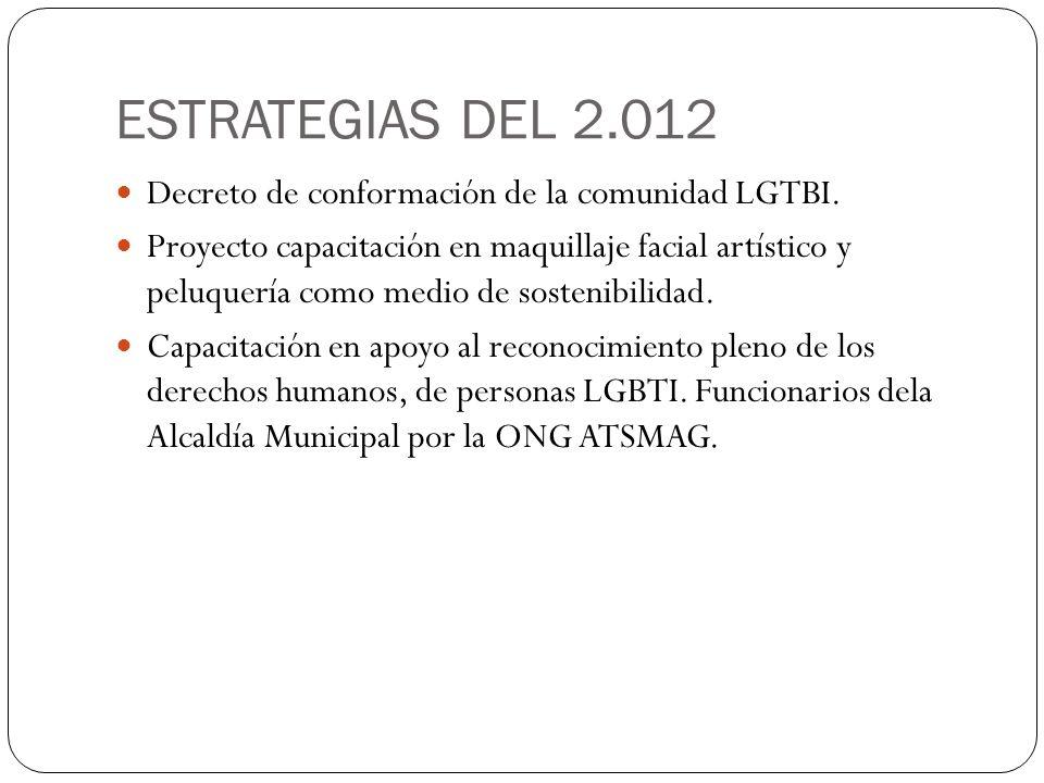 ESTRATEGIAS DEL 2.012 Decreto de conformación de la comunidad LGTBI.