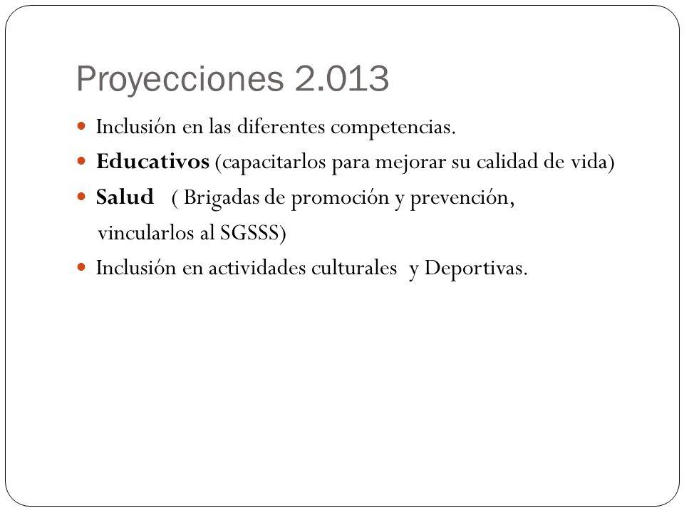 Proyecciones 2.013 Inclusión en las diferentes competencias.
